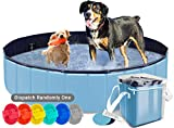 AYITOO Piscina para Perros, Bañera para Perros, Antideslizante Piscina para Mascotas Perros, Plegable Bañera Mascotas para Piscina, PVC Natación Piscina para Perros 120 cm x 30 cm Azul