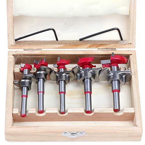 WiMas 5 brocas ajustables Forstner, brocas de carburo de tungsteno para madera, cortador de agujeros de bisagra para carpintería de 15 mm, 20 mm, 25 mm, 30 mm, 35 mm