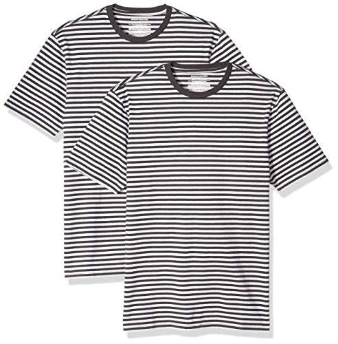 Amazon Essentials - Pack de 2 camisetas de manga corta con cuello redondo y diseño a rayas para hombre, Negro/Gris jaspeado claro, US M (EU M)