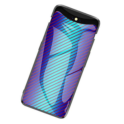 SHUNDA Capa Oppo Find X, capa protetora traseira de vidro temperado resistente a arranhões para Oppo Find X - Azul