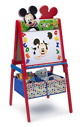 Delta Children Wooden Double-Sided Easel with Storage, Disney Mickey Mouse