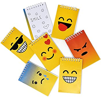 48 Mini Emoji Notepads Emoticon Face Themed Birthday Party Favor Supplies Decoration Spiral Memo Notebooks Drawing Pad Goodie Bag Stuffer Fillers Prize Giveaways For Kids Teacher Classroom Rewards
