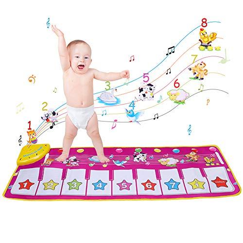 OUTOPE Piano Mat Tanzmatten Klaviermatte Musikmatte Kinder 8 Tierstimmen Klaviertastatur Spielzeug Musik Matte Keyboard Matten Spielteppich Baby Tanzmatte für Jungen Mädchen Kinder
