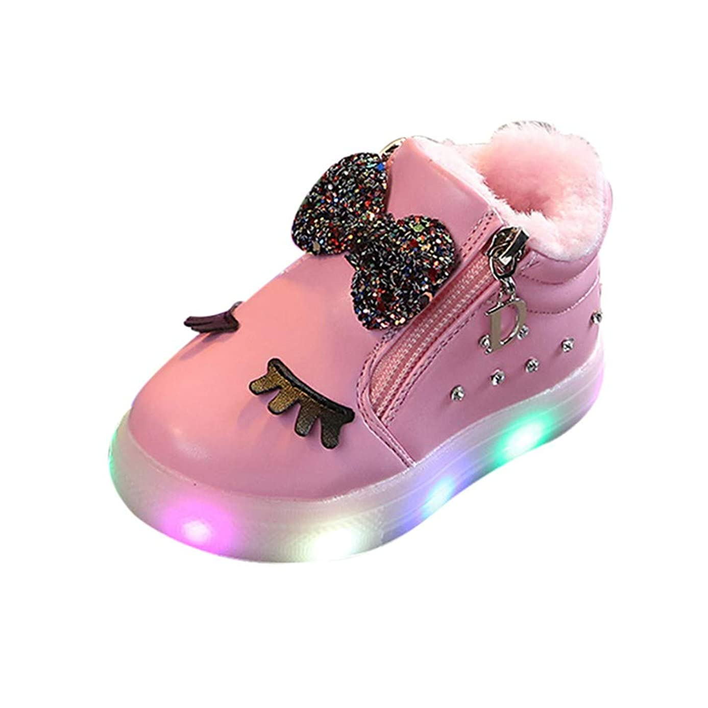 Todaies Children Baby?Girls Bowknot Crystal Led Luminous Boots Sport Sneaker Shoes