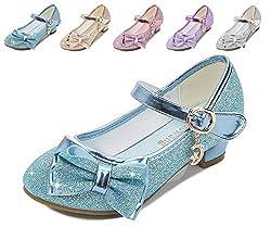 Blue/Ce Heels Mary Jane Princess Flower Girl Shoes