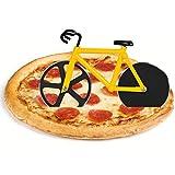 flintronic Corta Pizza Antiadherente, Ruedas Cortadoras De Pizza De Bicicleta, Cortadora de Pizza para Bicicleta con Soporte, Acero Inoxidable Doble, Amarillo