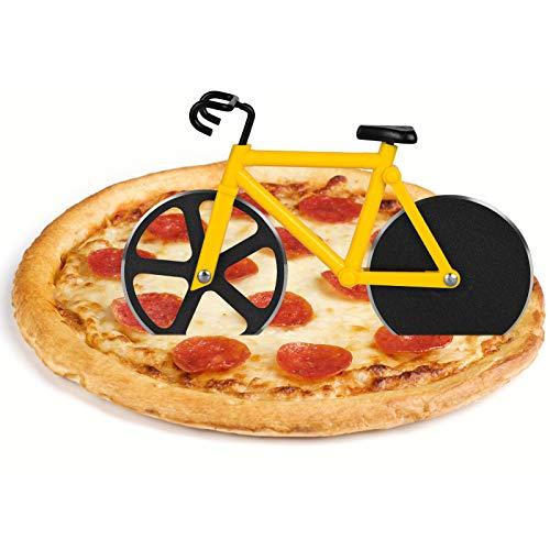 flintronic Pizzaschneider Fahrrad, Edelstahl Räder Pizza Schneider Zwei Edelstahl-Schneidräder mit einem Displayständer für Weihnachten Party Geschenke Interessantes Weihnachtengeschenk-Gelb