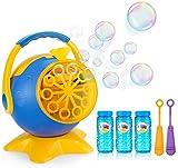 apiker Maquina de Burbujas para Niños Maquina Pompas Jabon,con 3 Botellas de Jabon Pompas Líquido,2 Varitas Burbujas y 1 Cargador,para Bodas,Cumpleaños etc.Alrededor de 800 + Burbujas por Minuto