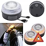 AUTO LABEL Luz Emergencia V16 Recargable Homologada DGT, Base Magnética, Señal V16, Set de 2 Luces
