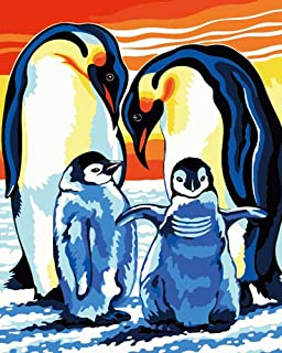 """DIY Painting by Numbers for Adults and Kids, Paint by Number Kit On Canvas for Beginners, New Painters, Gift Package (16"""" x 20""""Penguin Family)"""