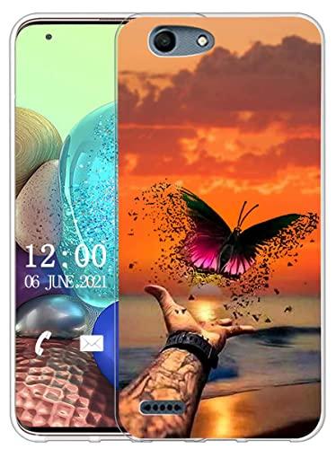 Sunrive Kompatibel mit Vodafone Smart E8 Hülle Silikon, Transparent Handyhülle Schutzhülle Etui Hülle (X Schmetterling)+Gratis Universal Eingabestift MEHRWEG