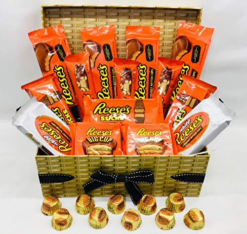 Reese's Chocolate Hamper - Reeses Cups - Sticks - Nut Bar - White Cups - Minis - American Chocolate Hamper…