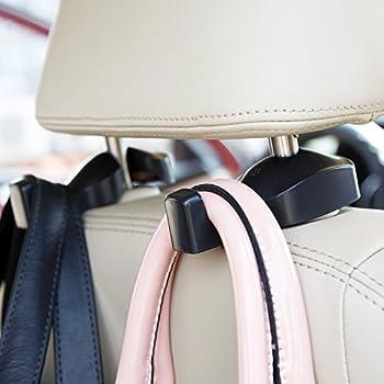 2-Pack Universal Car Seat Back Headrest Hanger Hooks (Black)