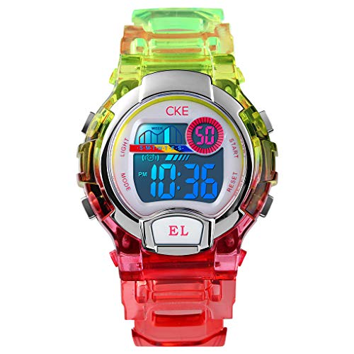 Kids Watch for Boys Girls, Digital Sports Watches for Child with Waterproof Colorful EL Light Stopwatch Alarm