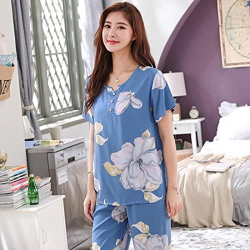STJDM Camisón,Conjunto de Pijamas Informales de Talla Grande para Mujer, Ropa de Dormir Estampada Floral, Ropa de hogar, Pijamas Sueltos Vintage XXL color3