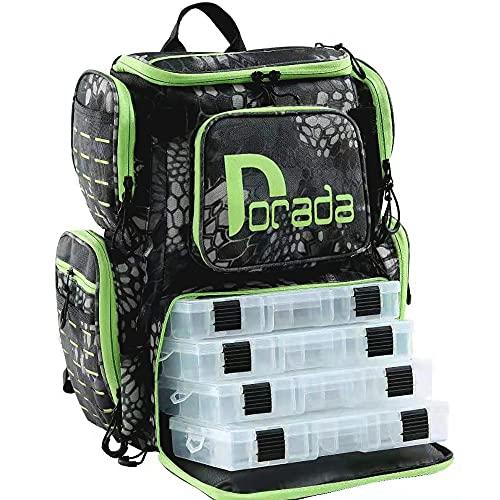 DORADA FISHING Tackle Backpack Large Waterproof Multifunctional Tackle Bag Storage with 4 Trays(3600)