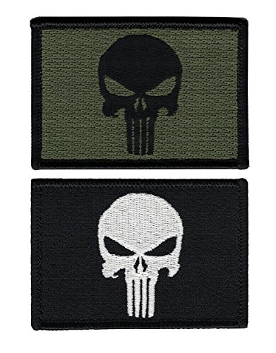 Titan One Europe - Hook Fastener Punisher Skull Tactical Military Morale Patch Set Of 2 Patches Punisher Totenkopf Klettband Aufnäher