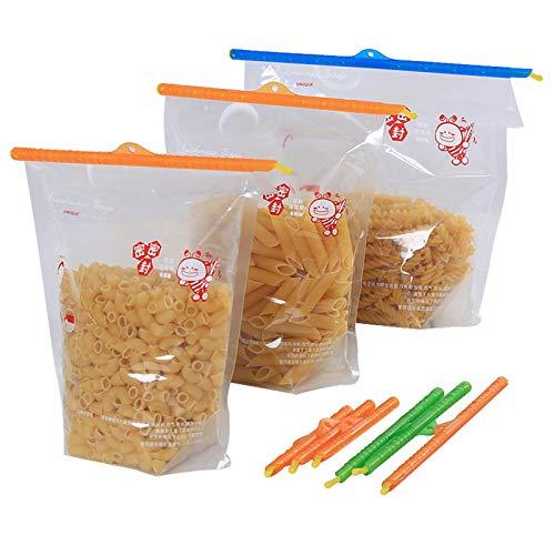 XIANLIAN 24 clips de sellado de bolsas mágicas, 4 tamaños selladores al vacío, polipropileno de grado alimenticio no tóxico, 99 aire y resistencia al agua (colores aleatorios)