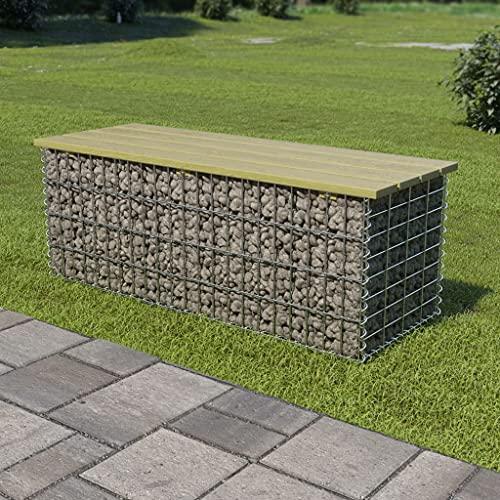 SHUJINGNCE Gartensitzmöbel Gabionen-Bank 120 cm Verzinkter Stahl und Kiefernholz Brettmaterial: Kiefernholz, grün imprägniert