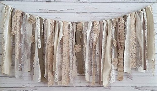 Neutral Shabby Chic Rag Tie Garland: ~ Photo Shoot ~ Wedding ~ Birthday ~ Nursery ~ Bridal Shower ~ Highchair Banner ~ Gender Reveal Parties ~ Decorations ~ Wall Decor! (3 FEET WIDE)