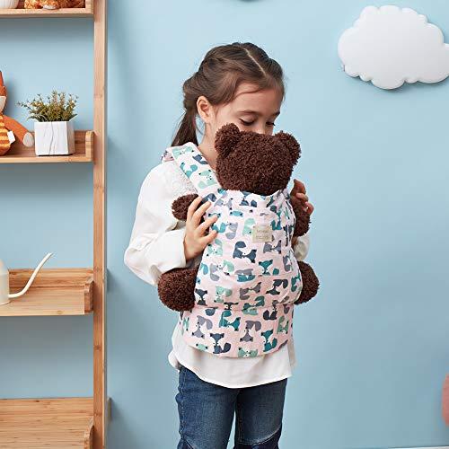 Bebamour Portabebés de algodón para niñas Accesorios para muñecos de bebé Juguetes para niños Muñeca Bolsa 3 en 1 Portabebés Sling Muñeca Baby Garabatos, Gris Púrpura con Ovejas