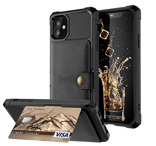 PU Leather case iPhone 12 Mini Apple Magnetic Kickstand with 3 Card Slots(ID Card,Credit Card Photo Fram or License) 6.1inch Drop Protection,Accurate Cutouts Fashion Gift Girls Boys Unisex Black