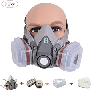 Funwill Gas Mask, Paint Spray Respirator Mask Half Face-piece Respirator Paint Anti-Pesticide Formaldehyde Gas Masks Organic Vapor Paint Pesticide Chemical Activated Carbon Breathing Mas