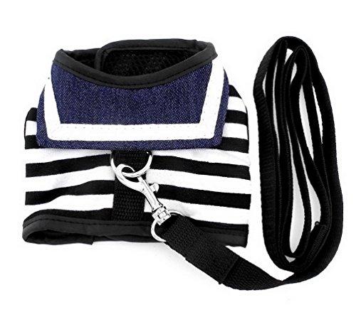 smalllee_lucky_store Haustier-Kleidung Weste für kleine Hunde/Katzen, gestreiftes Matrosendesign-Geschirr mit Leine im Set, Netzstoff, Soft mesh gepolstert