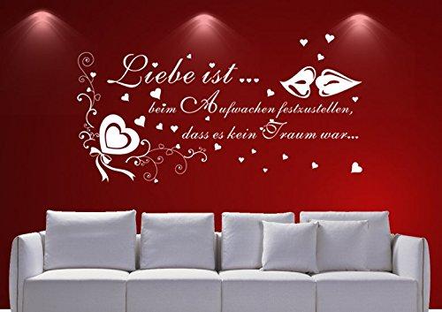 Wandtattoo wandaufkleber Aufkleber Wandsticker wall sticker Wohnzimmer Schlafzimmer Kinderzimmer 30 Farben zur Wahl Wandtext Wandwort Wandspruch spruch Zitat ENGEL Liebe ist ??? wzt10(Printed Sticker,ca.20 x 8cm)