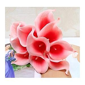 tutu.vivi 10pcs Calla Lily Bridal Wedding Bouquet Head Latex Real Touch Artificial Flower Home Party Wedding Decor Grapefruit