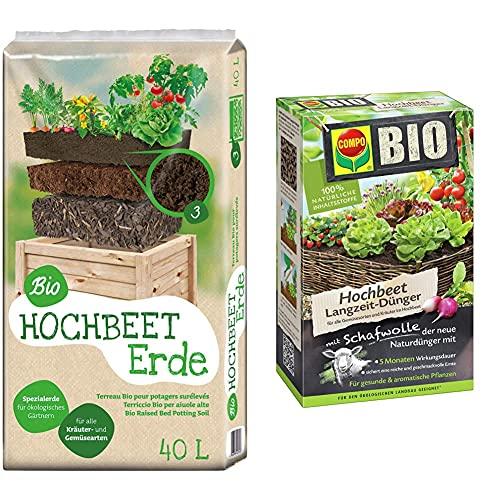 Universal Bio Hochbeet-Erde 40 Liter & Compo Bio Hochbeet Langzeit-Dünger für Gemüse, Obst, Kräuter und andere Hochbeet-Pflanzen, 5 Monate Langzeitwirkung, 750 g