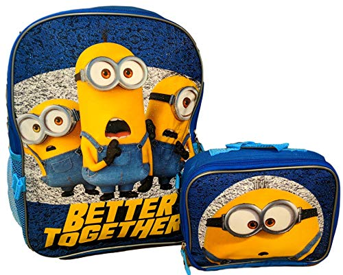 """Despicable Me Minions 16"""" Backpack with Detachable Lunch Box"""