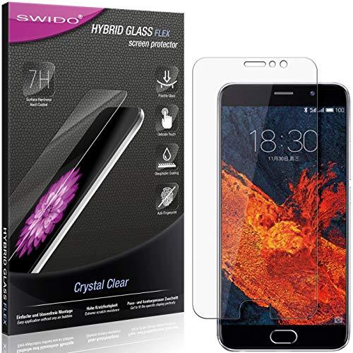 SWIDO Panzerglas Schutzfolie kompatibel mit Meizu Pro 6 Plus Bildschirmschutz-Folie & Glas = biegsames HYBRIDGLAS, splitterfrei, Anti-Fingerprint KLAR - HD-Clear