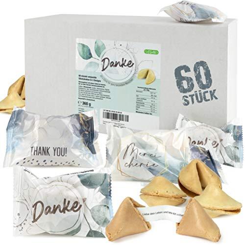 FOOD Crew 60 Glückskekse Danke - Einzeln Verpackt in Box - Sprüche Deutsch - Danke Geschenk zum bedanken - Made in Germany