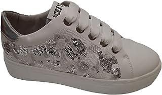 Keys Scarpe Sneakers Donna in Pelle Bianca e Argento con Paillettes 603-WHITE