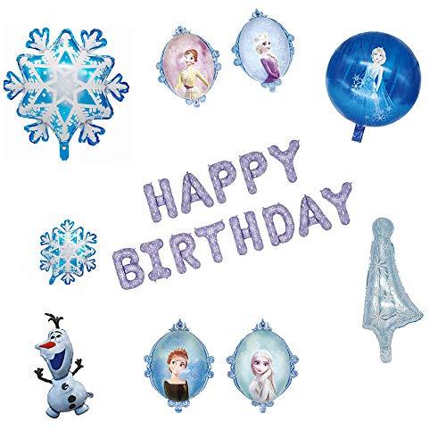 Fleymu Compleanno Palloncini Decorazioni Lattice Palloncini Foil di Blu Frozen Palloncini Banner Kit Decorazione di Sfondo Partito per Bambino Compleanno, Baby Shower, Feste Fiocco Neve Kit (22 Pezzo)
