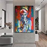 DCLZYF Carteles e Impresiones de Color Moderno para niña, Retrato, Arte de Pared, Lienzo, Pintura, Cuadros para la decoración del hogar de la Sala de Estar, 60x90cm (sin Marco)