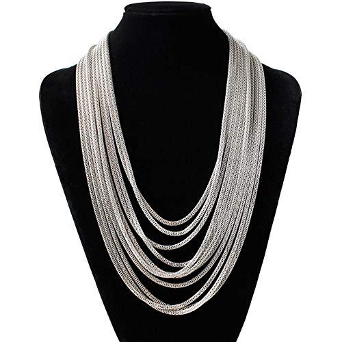 ZSDFW Cadena de suéter de varias capas, larga, elástica, elegante, collar para el cuello, para mujeres y niñas, regalo de Acción de Gracias, color blanco