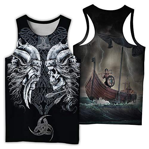 NICEWL Camisetas de Los Hombres Tank Tops 3D Impresos Vikingos Odin Patrón,Thor's Hammer Valknut Símbolo Chaleco Sin Mangas-Camisa Ropa, Unisex Verano Moda Camiseta Tops,C,XXL