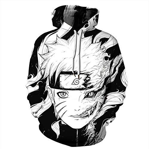 ZXRYF Naruto Cosplay Kapuzenpullover 3D Druck Crow Pullover Sweatshirt Kapuze Langarm Tshirts Kinder Hoodie Geschenk Für Herbst Und Winter Geeignet Für Männer Und Frauen,Schwarz,4XL