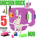 F-32 Unicorn Build-on Brick Mug w/ 5 Packs of Building Blocks 16 Oz Novelty DIY Lego Compatible Unique Funny Coffee Cup Gift Signature Collection (Purple)