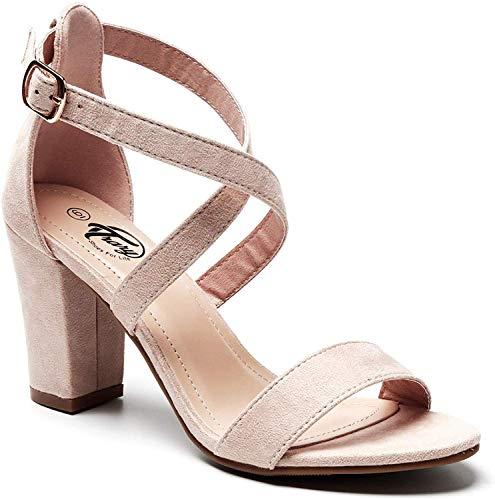 Trary Damen-Sandalen mit Knöchelriemen und verstellbarer Schnalle, grober Absatz, Hautfarben - Nude Suede, 38 EU