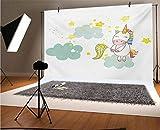 Fondo de vinilo para fotos de unicornio de 1,5 x 9,5 m, para bebé, niña mística sentada en nubes esponjosas y guardería de caza, fondo para selfies, fiestas de cumpleaños, fotos de cabina de fotos