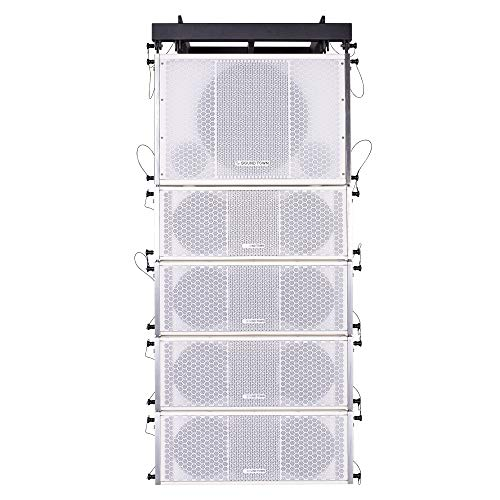 Sound Town ZETHUS Series Line Array Speaker System with One 15-inch Line Array Subwoofer, Four Compact 2 X 8-inch Line Array Speakers, White