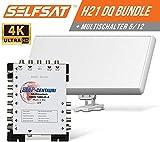 Bild des Produktes 'Selfsat H21DQ 8 TV Teilnehmer SAT Flachantenne Flat + Multischalter 5/8 Full HD 4K'