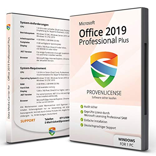 Office 2019 Professional Plus + ISO 32/64 bit + Dauerlizenz + Multilingual + Lizenzversand per E-Mail + Kundensupport