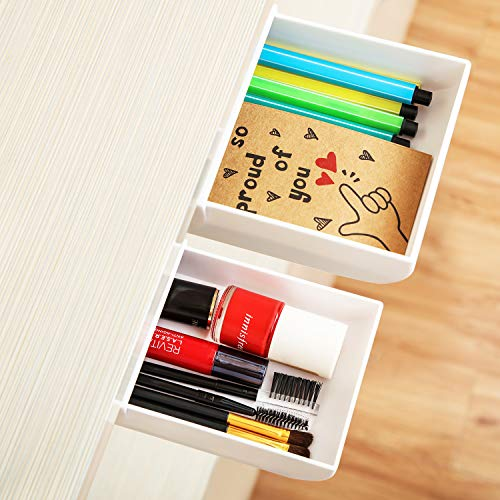 2 Pieces Desk Pencil Drawer Organizer Self-Adhesive Drawer Pencil Tray Pop-Up Hidden Desktop Drawer Tray Expandable Under The Table Drawer Organizer for Office School Home Desk (White, 2 Size)