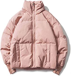 Women's Short Down Jacket Lightweight Down Coat, Zipper Loose Thicken Parker Coat, Standing Collar 70% White Duck Down