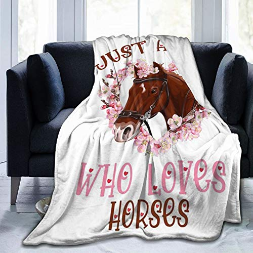 "Just A Girl Who Loves Horses Throw Blanket Flannel Fleece Air Conditioning Quilt Best Gift Lightweight Cozy Plush Blanket for Sofa Chair Bedroom M 60""X50"" for Teens"