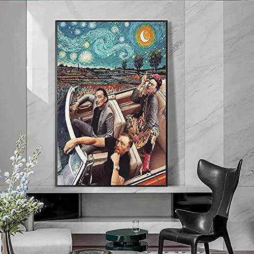 XMYC Arte abstracto Divertido personaje arte azul estrellado Van Gogh conducción carteles imprimir imágenes para decoración de sala de estar 60 x 80 cm sin marco